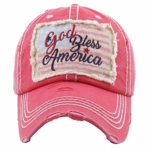 """""""God Bless America"""" Washed Vintage Ball Cap"""